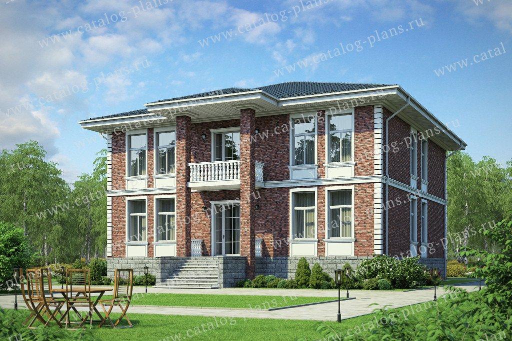 Проект жилой дом #40-57L материал - кирпич, стиль европейский