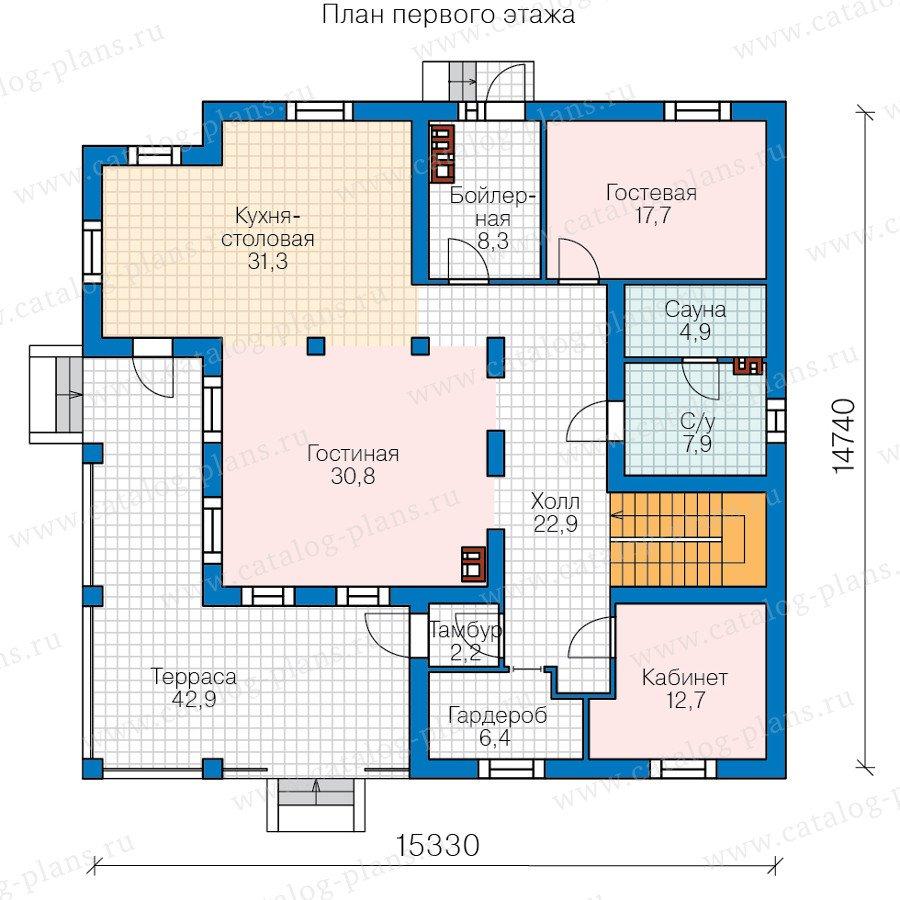 План 1-этажа проекта 80-17