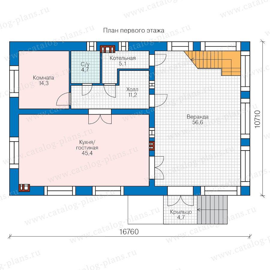 План 1-этажа проекта 40-64L