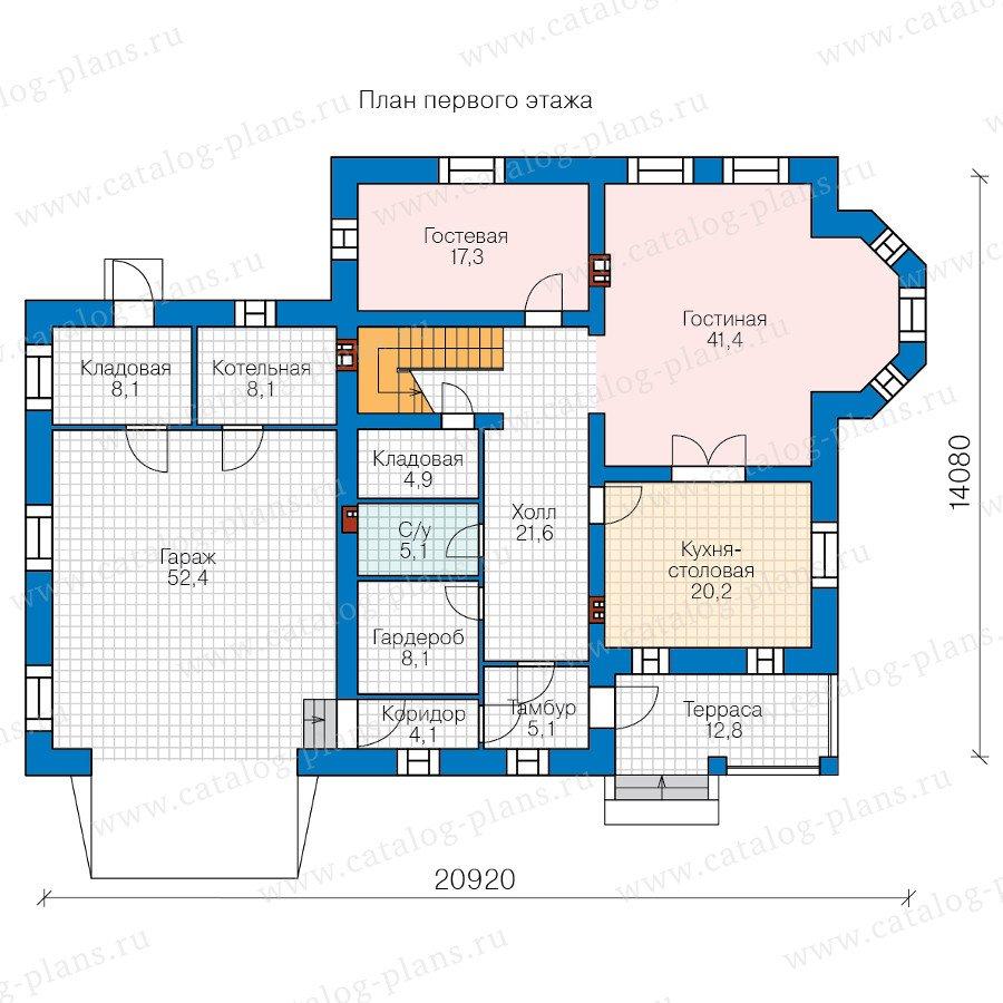 План 1-этажа проекта 57-33BK