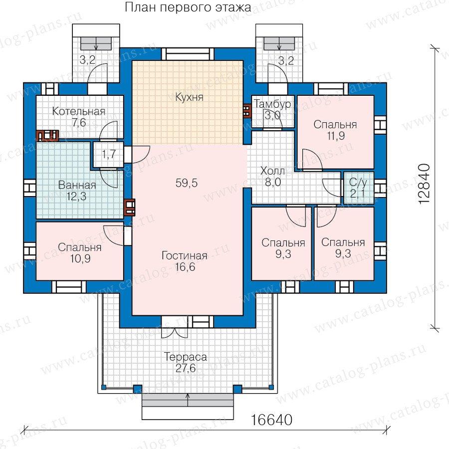 План 1-этажа проекта 40-62L