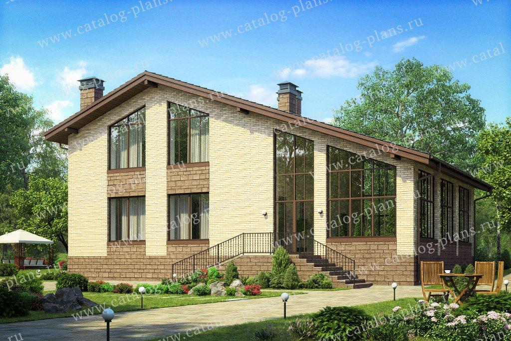 Проект жилой дом #40-64L материал - кирпич, стиль современный