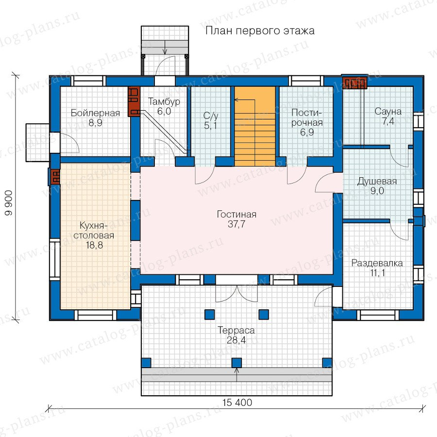 План 1-этажа проекта 57-80L