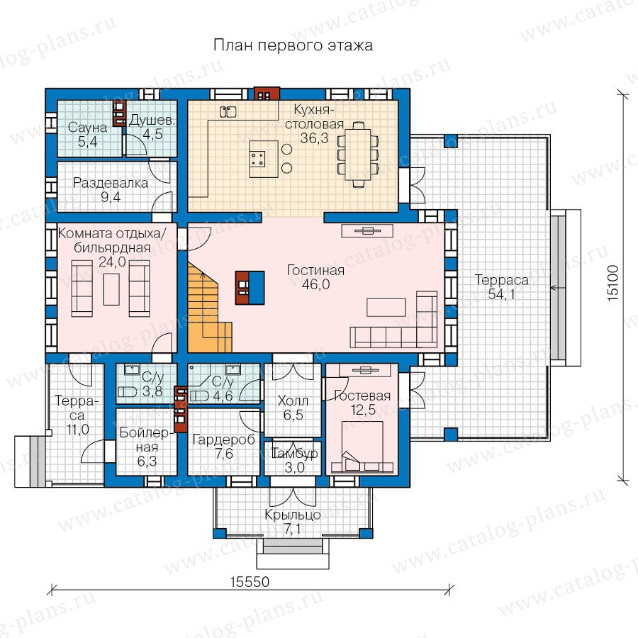 План 1-этажа проекта 57-82L