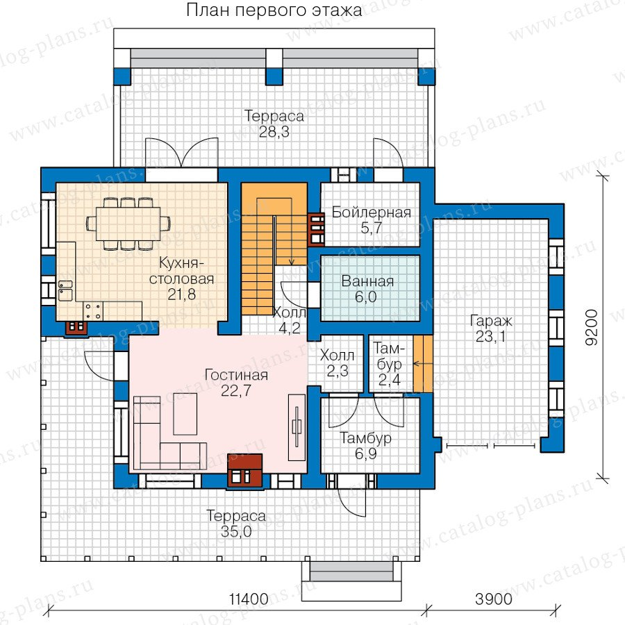 План 1-этажа проекта 57-95L