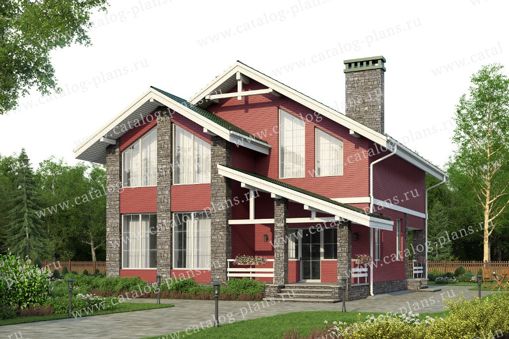 Проект жилой дом #57-84L материал - газобетон, стиль скандинавский