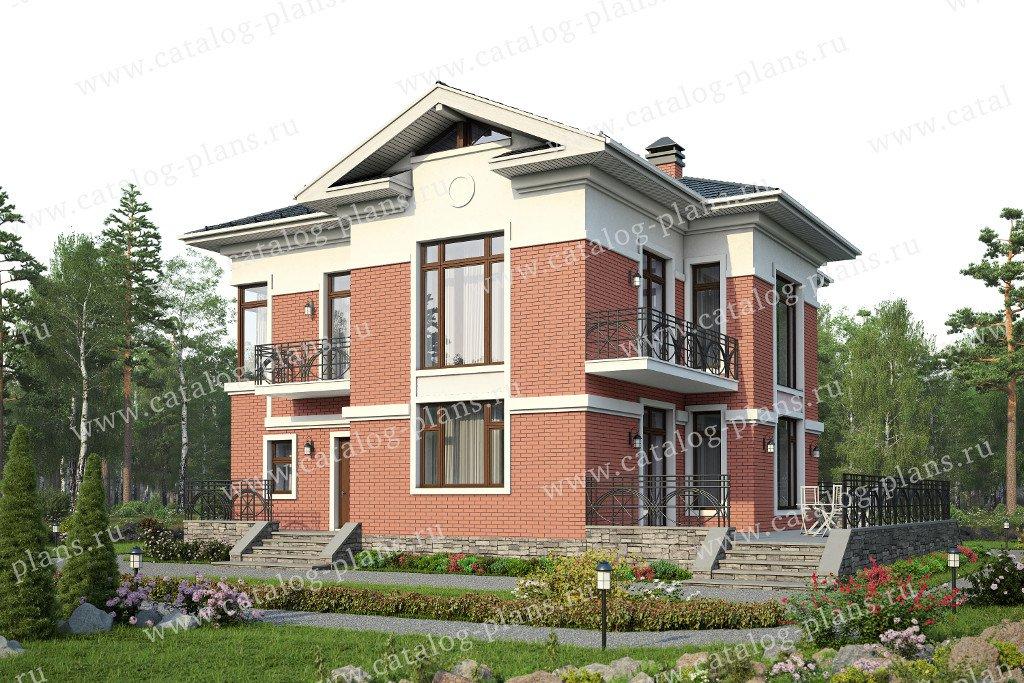 Проект жилой дом #57-49L материал - газобетон, стиль американский