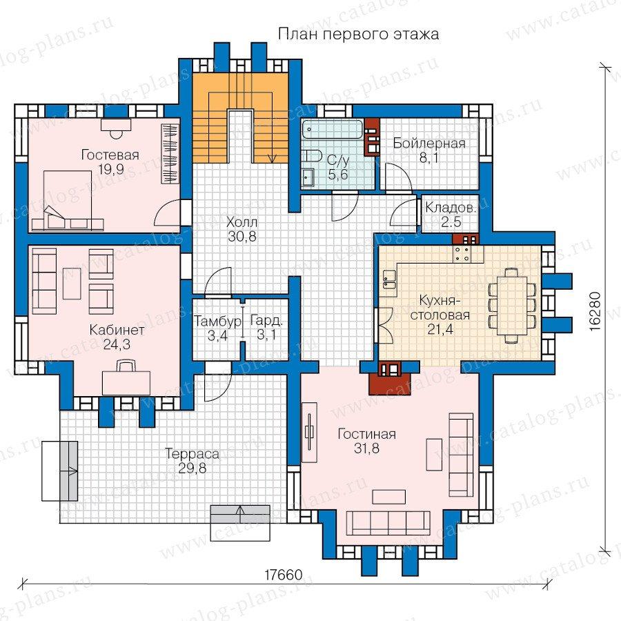 План 1-этажа проекта 57-99L