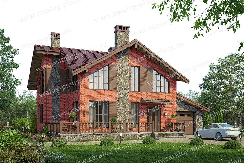 Проект жилой дом #57-95L материал - газобетон, стиль скандинавский
