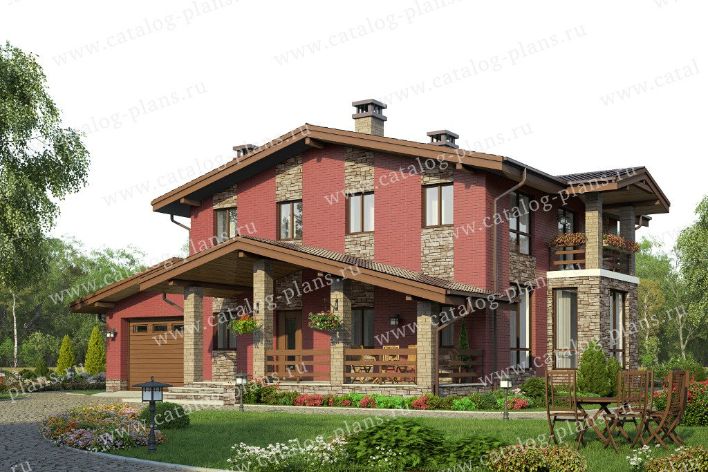 Проект жилой дом #58-18L материал - газобетон, стиль шале