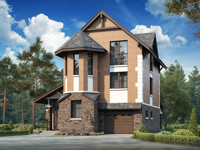 Проект жилой дом #48-14 материал - кирпич, стиль немецкий
