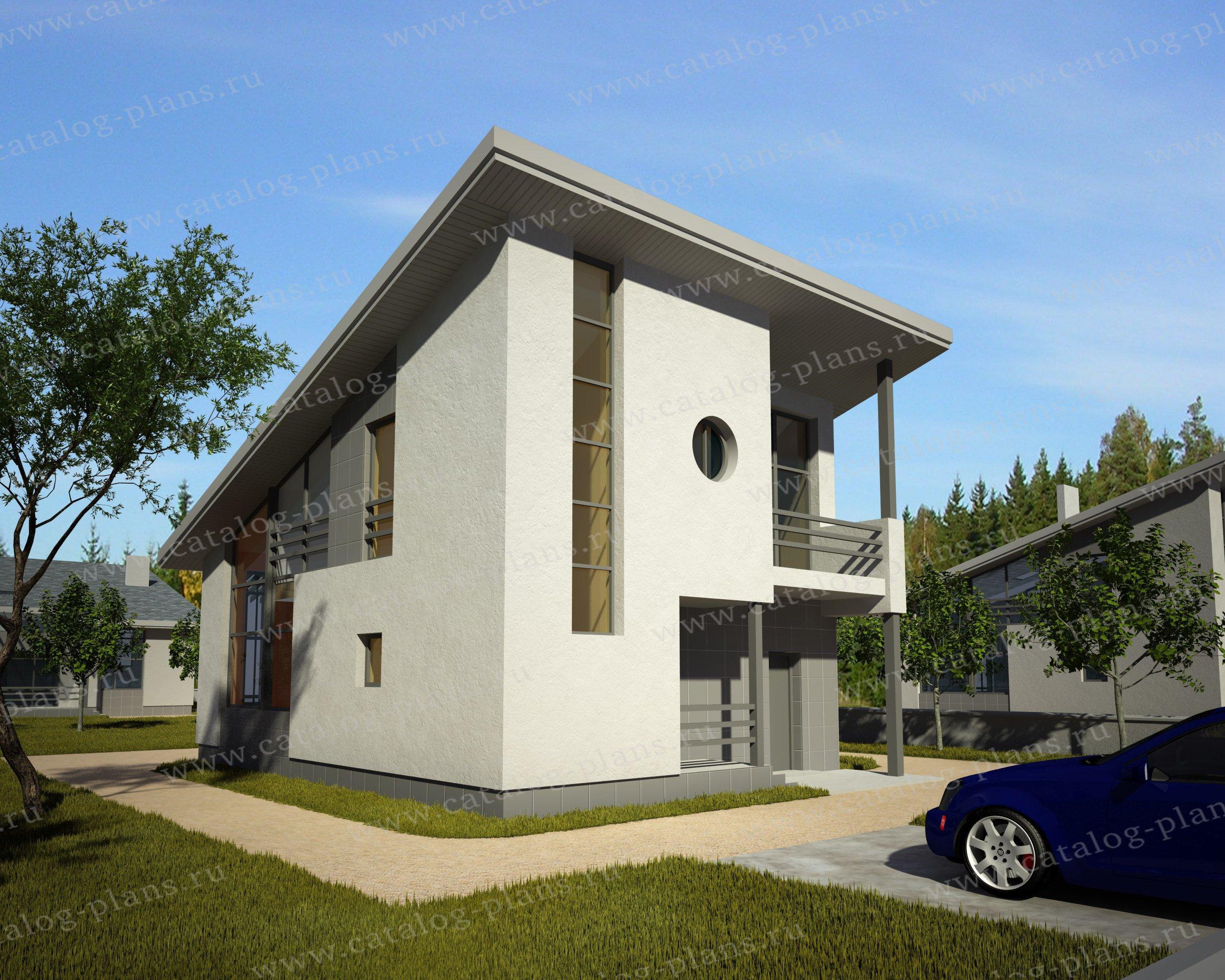 Проект жилой дом #49-97K материал - кирпич, стиль хай-тек