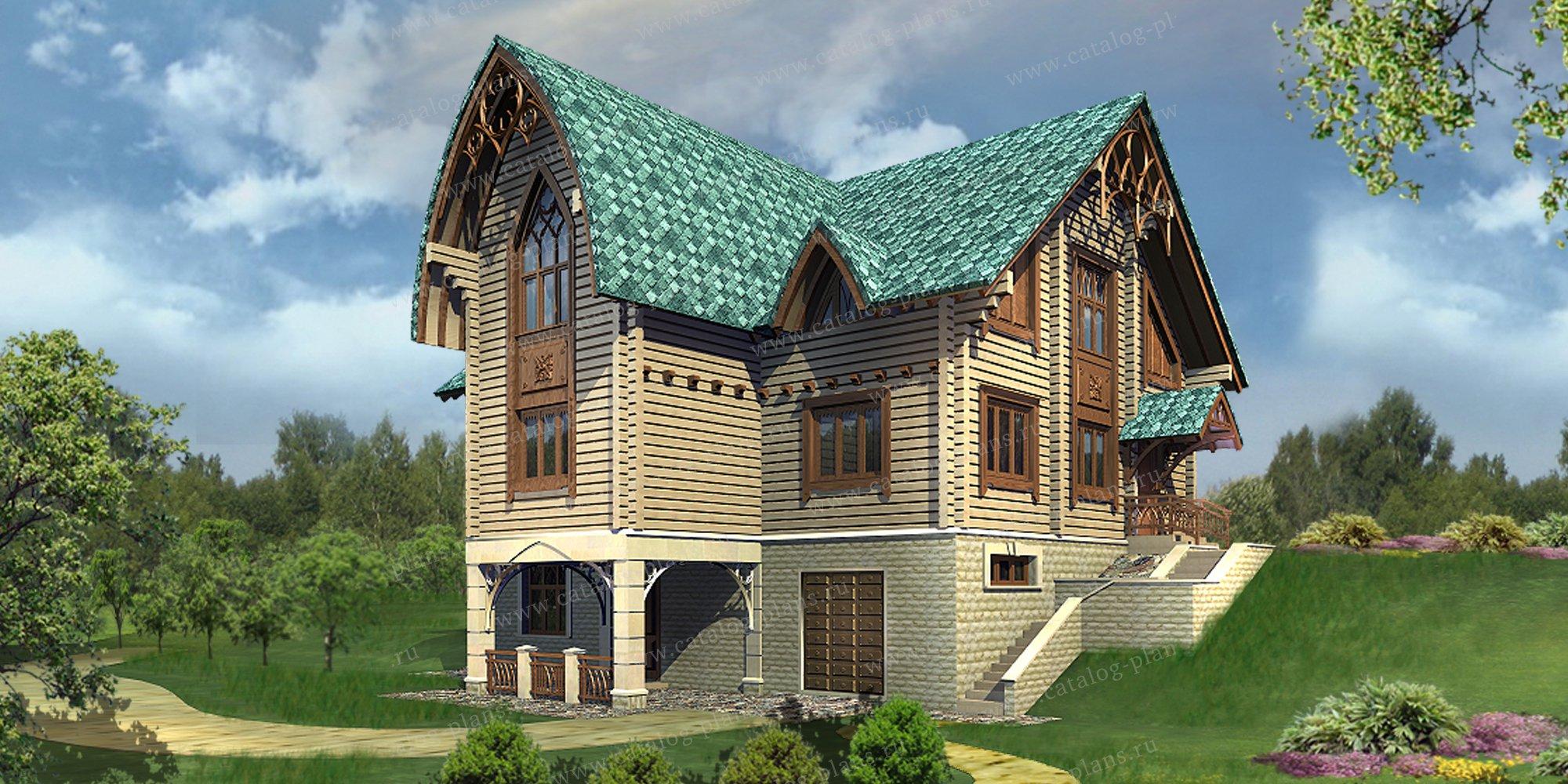 Проект жилой дом #13-27 материал - дерево, стиль модерн