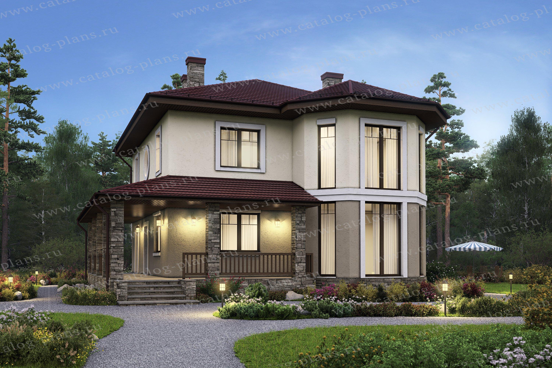 Проект жилой дом #59-92K материал - газобетон, стиль