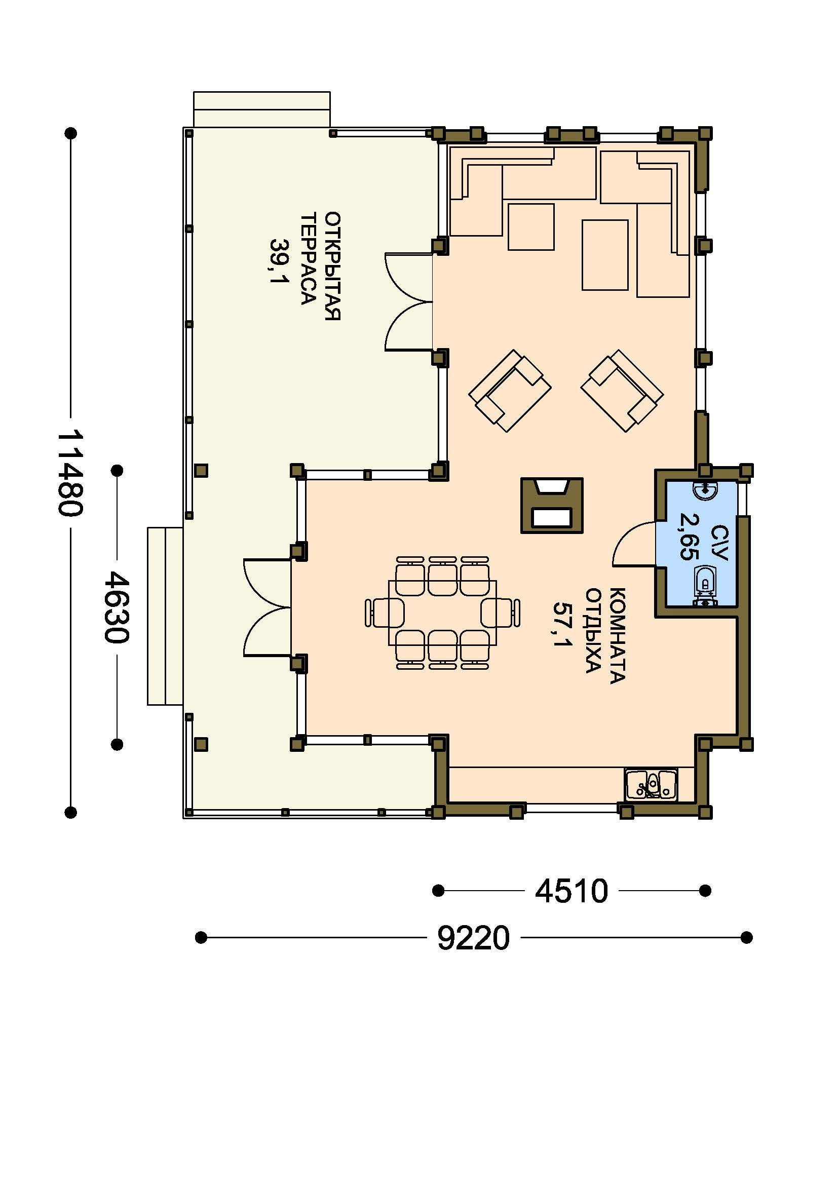 План 1-этажа проекта 13-07