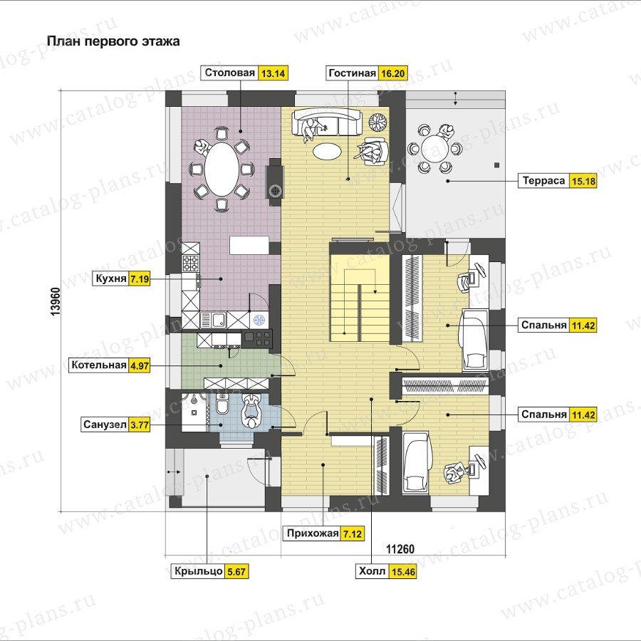 План 1-этажа проекта 60-93