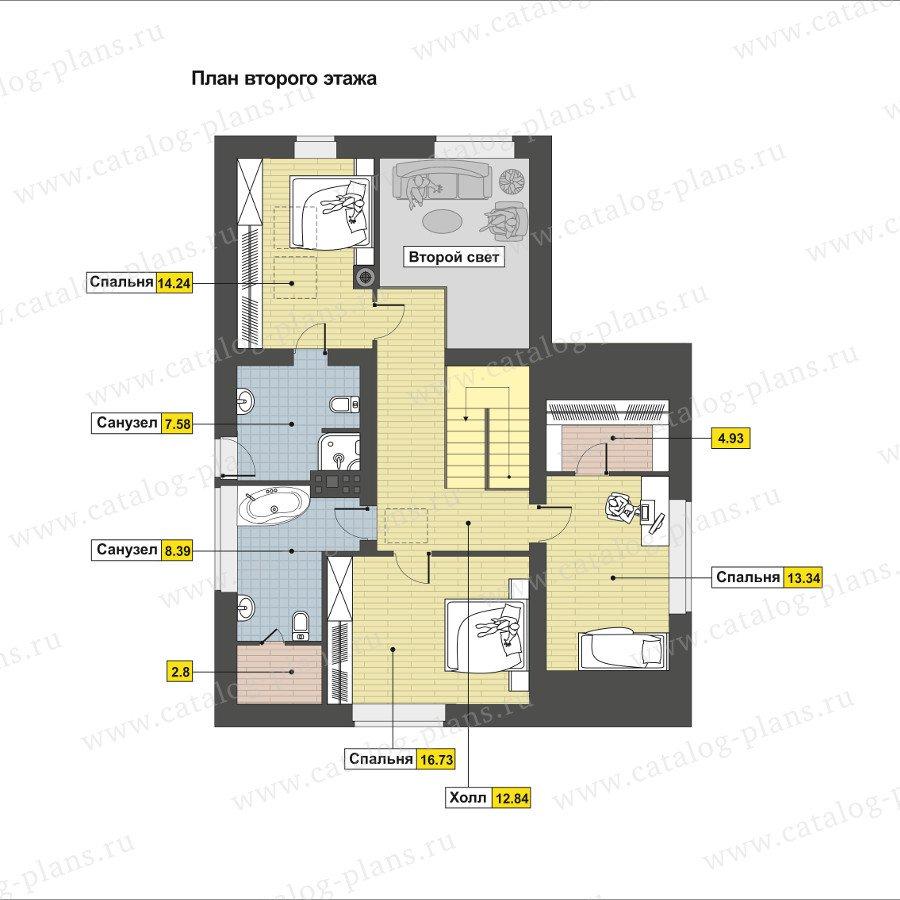 План 2-этажа проекта 60-93