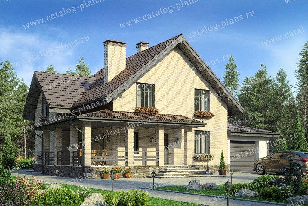 Проект жилой дом #59-62A материал - газобетон, стиль европейский