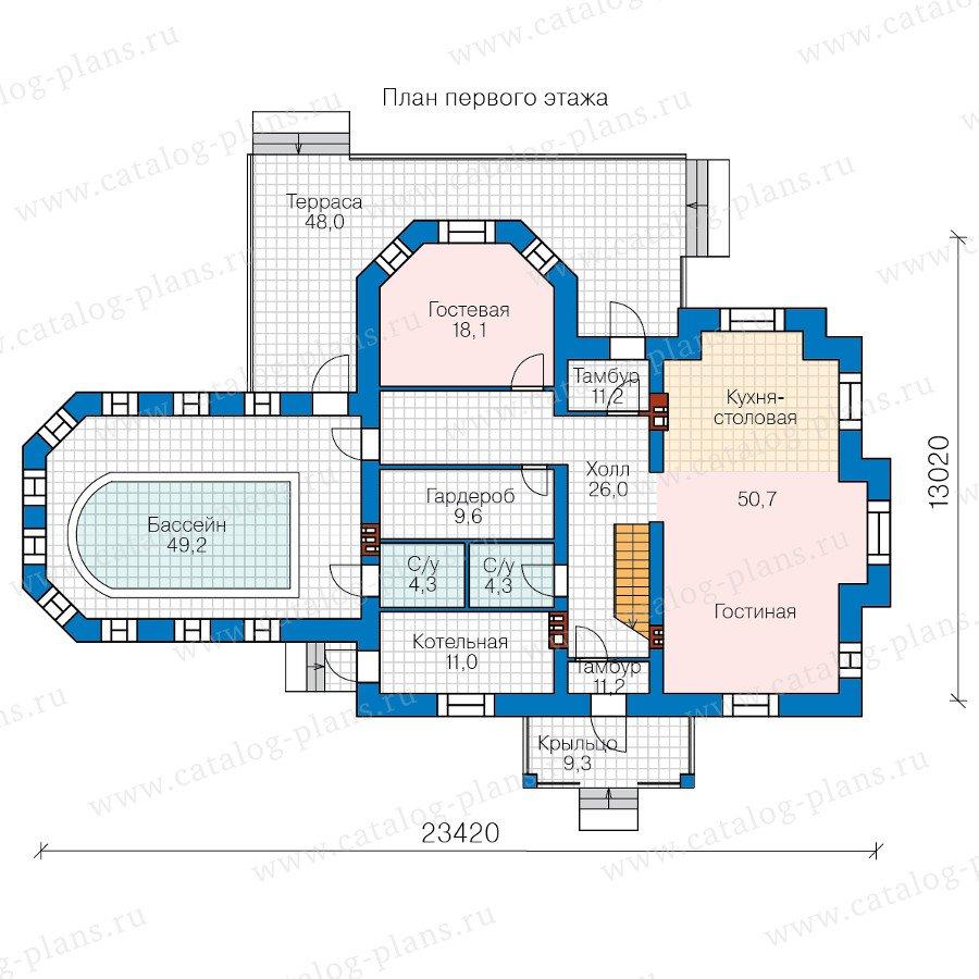 План 1-этажа проекта 48-29H