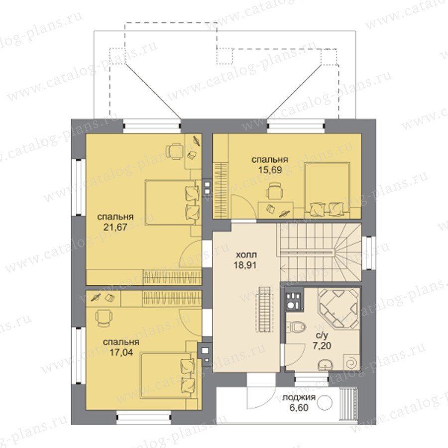 План 2-этажа проекта 60-95