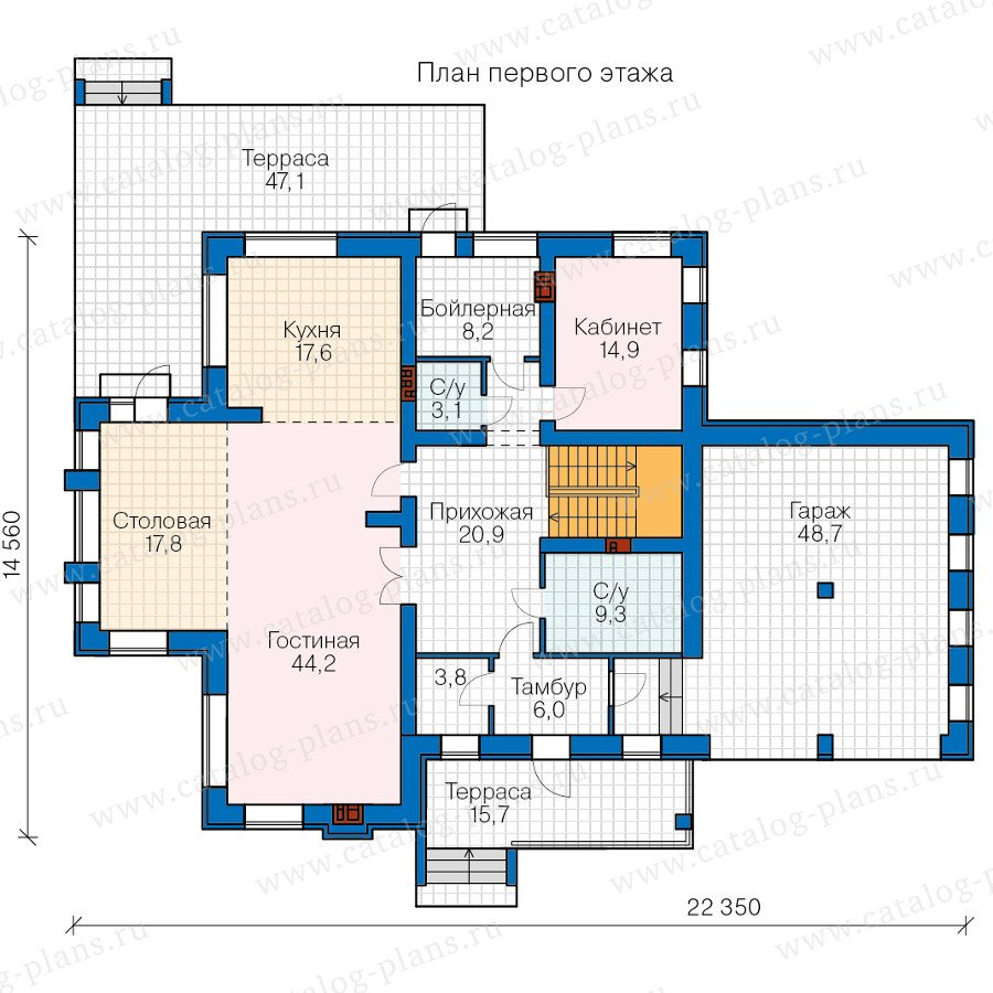 План 1-этажа проекта 48-24D