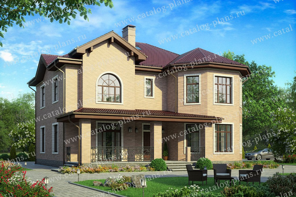 Проект жилой дом #40-11T материал - кирпич, стиль европейский