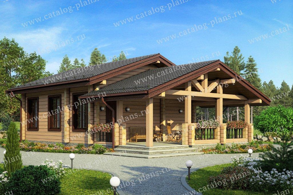 Проект баня #90-45 материал - дерево, стиль Русская усадьба