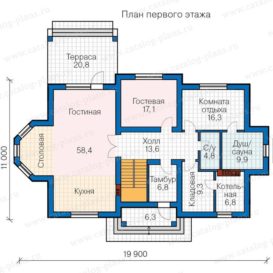 План 1-этажа проекта 58-82