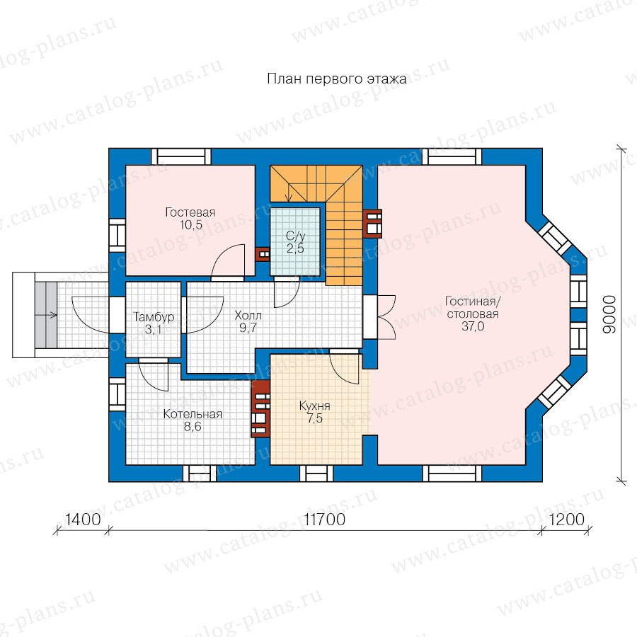 План 1-этажа проекта 58-86