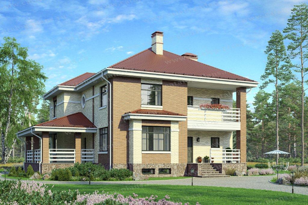 Проект жилой дом #80-16 материал - кирпич, стиль скандинавский