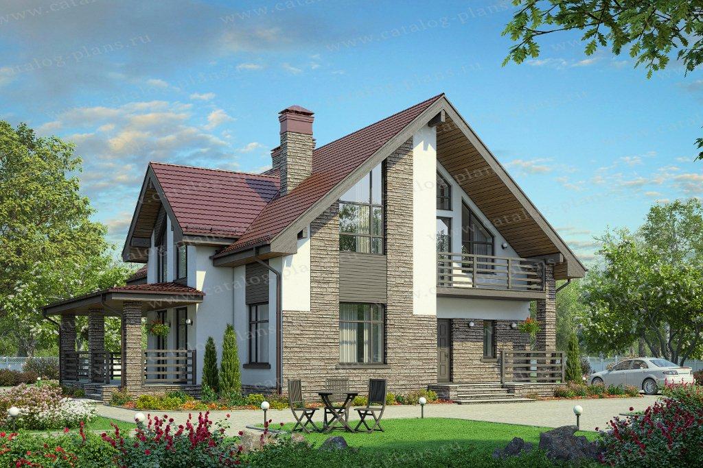 Проект жилой дом #57-00F материал - газобетон, стиль современный