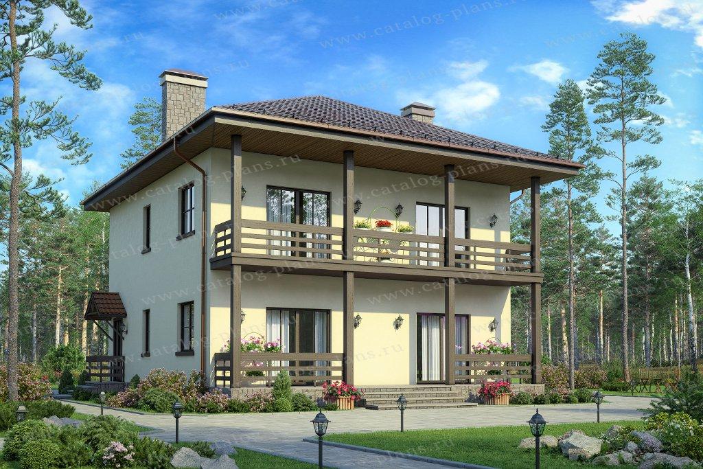Проект жилой дом #70-84 материал - каркас, стиль европейский
