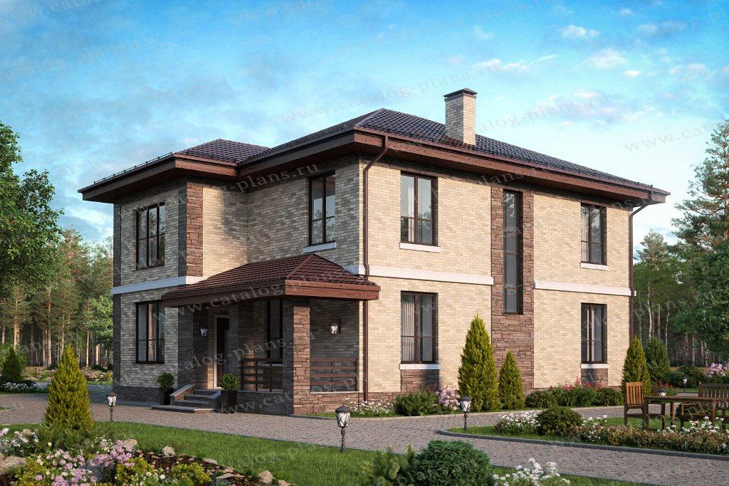 Проект жилой дом #57-62A материал - газобетон, стиль европейский
