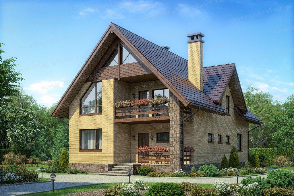 Проект жилой дом #40-71L материал - кирпич, стиль европейский