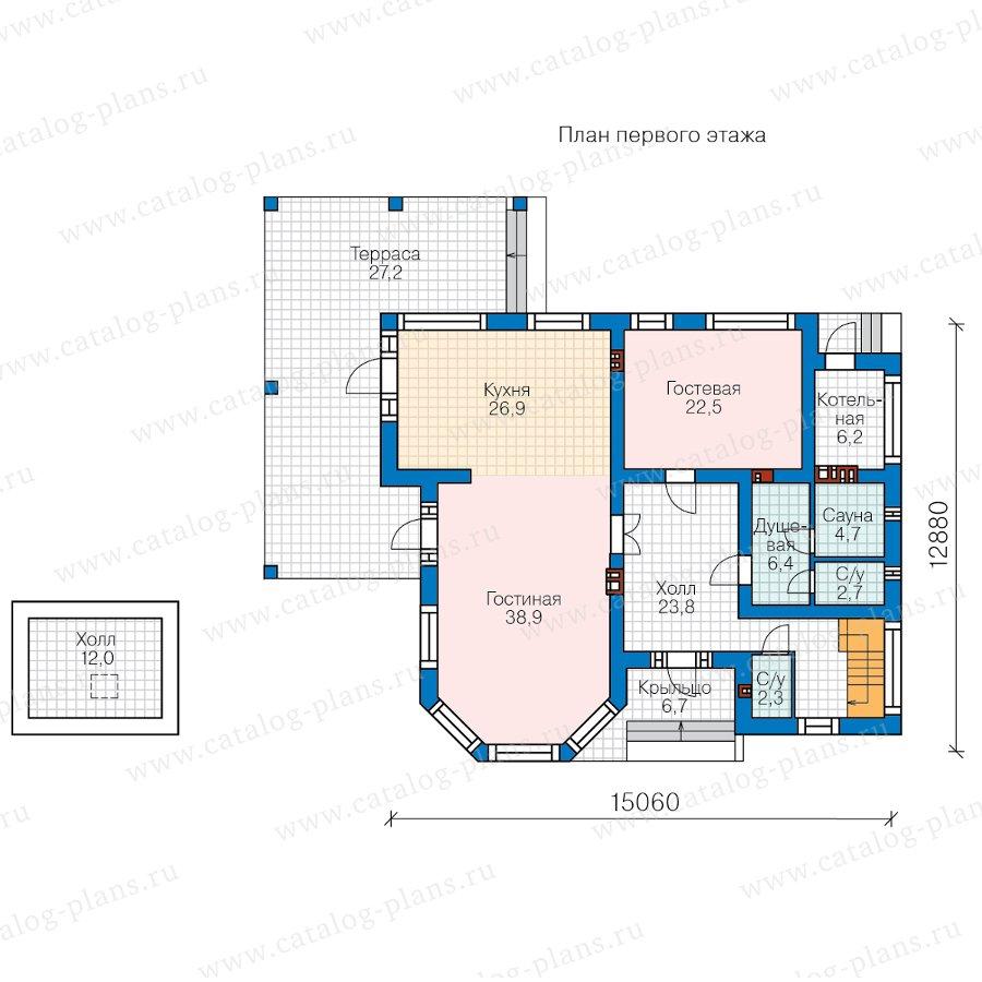 План 1-этажа проекта 48-21D