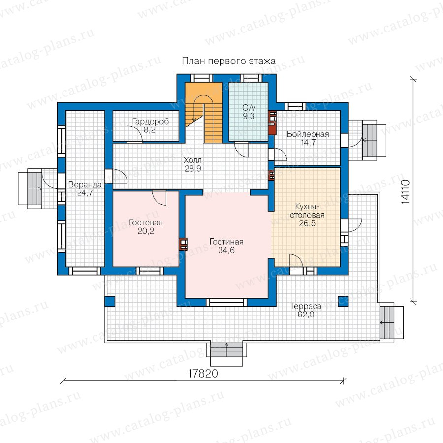 План 1-этажа проекта 40-77