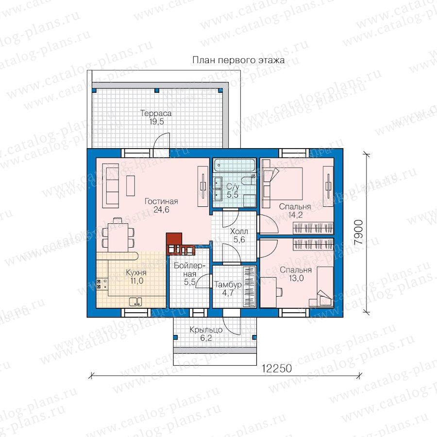 План 1-этажа проекта 58-89