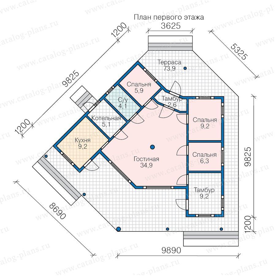 План 1-этажа проекта 70-85