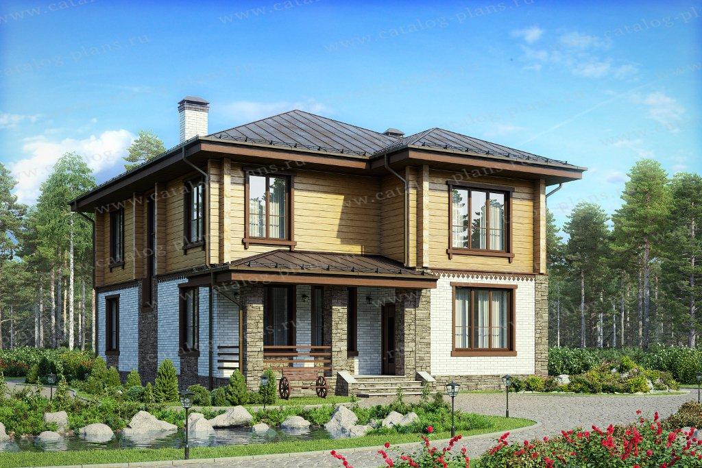 Проект жилой дом #80-18 материал - комбинированный, стиль скандинавский