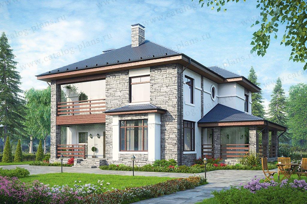 Проект жилой дом #57-39 материал - газобетон, стиль европейский