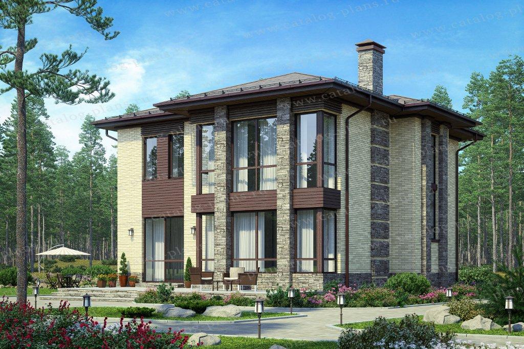 Проект жилой дом #58-93L материал - газобетон, стиль