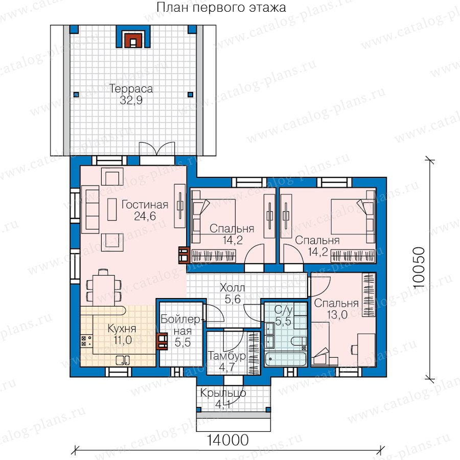 План 1-этажа проекта 58-90