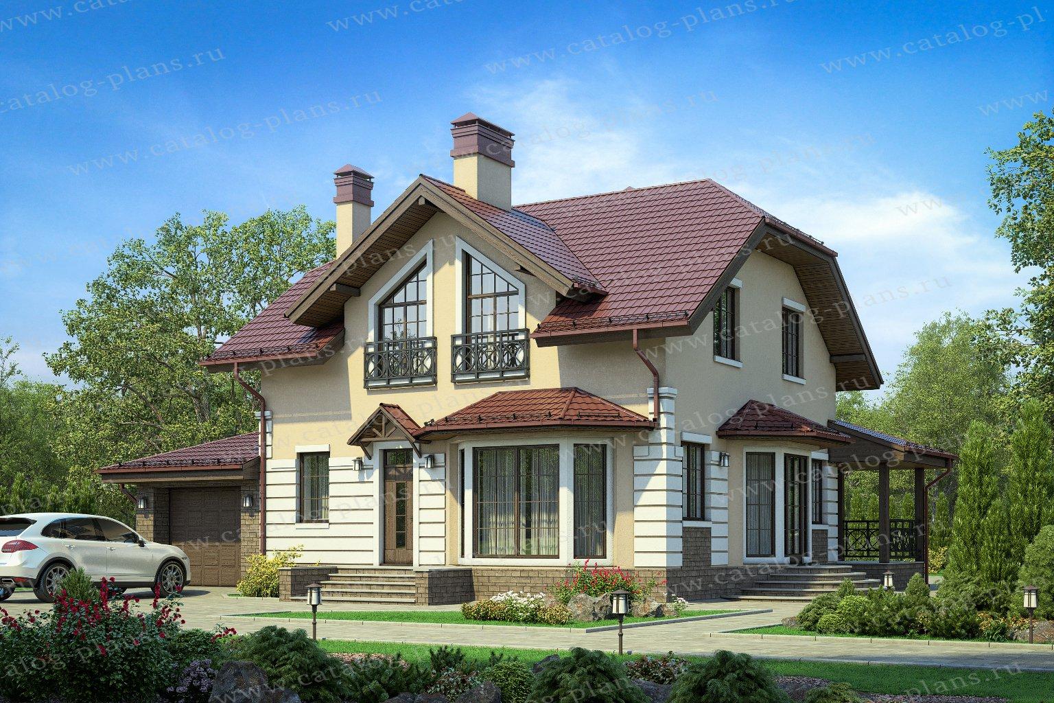 Проект жилой дом #57-52А материал - газобетонные блоки 400мм, стиль европейский