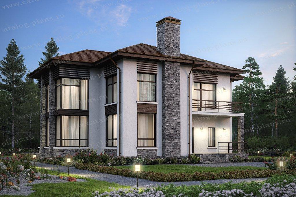 Проект жилой дом #48-24 материал - кирпич, стиль современный