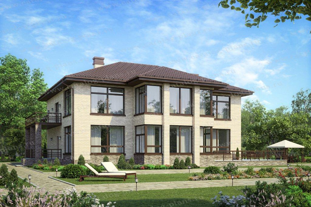 Проект жилой дом #40-30А материал - кирпич, стиль европейский