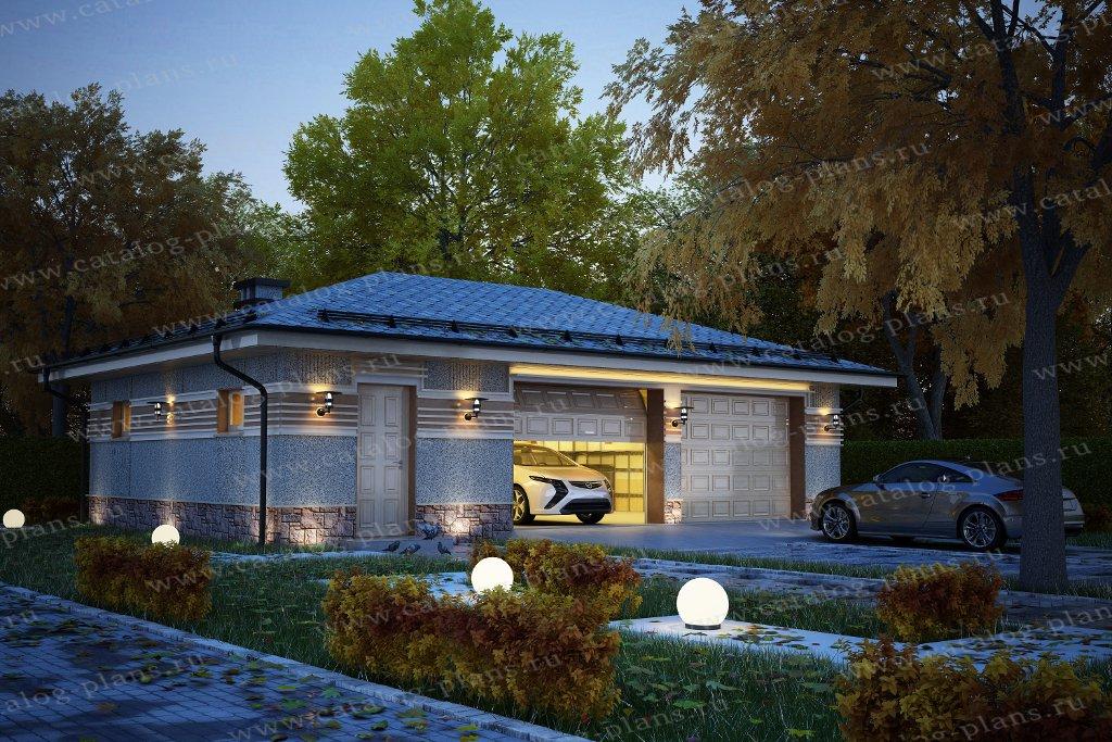 Проект гараж #90-43 материал - газобетон, стиль