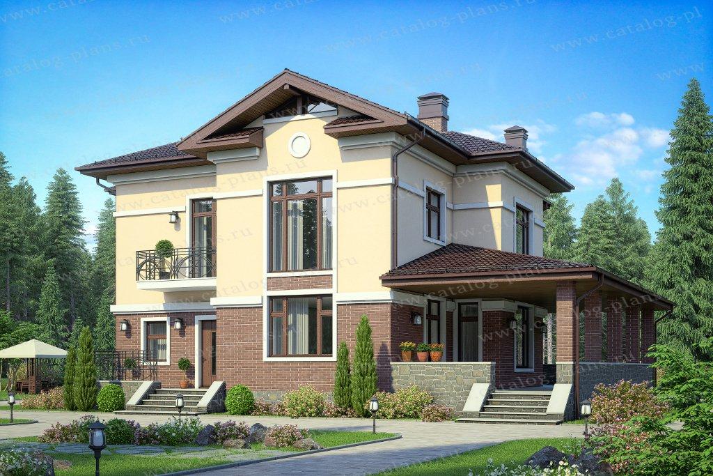 Проект жилой дом #57-49B материал - газобетон, стиль американский