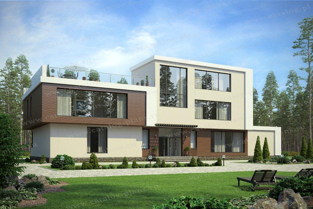 Проект жилой дом #47-69 материал - кирпич, стиль хай-тек