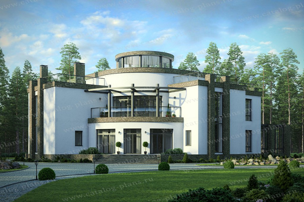 Проект жилой дом #40-89 материал - монолитный каркас, стиль хай-тек