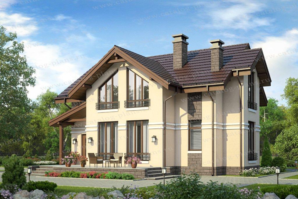 Проект жилой дом #58-55A материал - газобетон, стиль европейский
